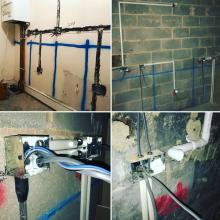 1st fix electrics in a kitchen extension in Maghull, Liverpool - STF Electrical Ltd
