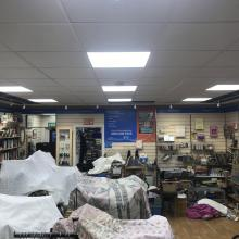 New LED panels and Track lighting installed in charity shop